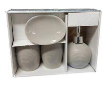 Set 4 Accessori Bagno Ceramica PortaSapone Porta Spazzolino Dispenser Grigio dfh