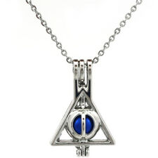 K692 Geometry Triangle Beads Cage Pendant Necklace Locket