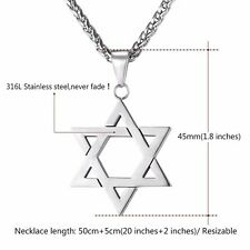 Large Silver Star Of David Magen Necklace Jewish Pendant 22 Inch Chain