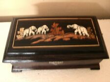 HandCrafted Wooden Wood Rosewood Elephant Inled Trinket Jewelry Storage Box