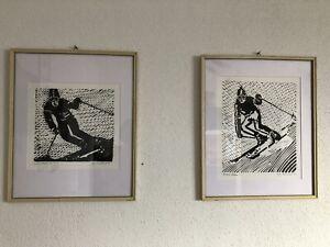 2 Originale Linolschnitte,Hahnenkamm 1 und 2, Skirennen, 70er Jahre, Tirol