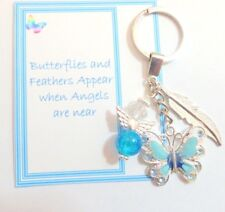 Butterflies and Feathers Appear when Angels are Near Memorial Key Ring Gift Blue