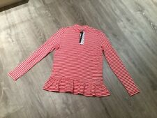 Noisy May Petite Mallory Red Striped Top With High Neck - New With Tags Size XS