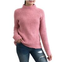 Madewell Womens Pink Mock Neck Ribbed Knit Raglan Sleeve Sweater Size XS