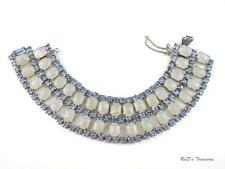 Vintage Ouality Blue Rhinestone & Crackle Moonstone Collar WIDE Bracelet