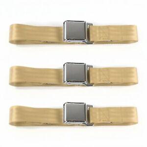 Chevy Truck 1963 - 1966 Airplane 2pt Tan Lap Bench Seat Belt Kit - 3 Belts rod