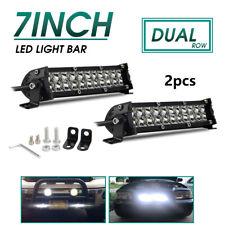"2x Dual Row 7Inch 840W Led Work Light Bar SPOT Offroad Driving 4WD Truck ATV 8"""