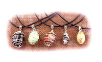 Unisex Easy On Gemstone Pendant Cage Necklace Tribal Reiki Healing Crystal