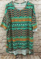 LuLaRoe Tunic shirt Irma womens Large top green seafoam patterned new hi lo E2