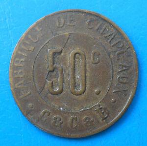 91 Corbeil-Essonnes  fabrique de chapeaux C&C&B 50 centimes Elie 20.4