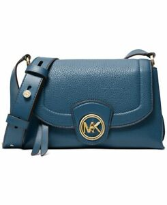 Michael Kors Bowery Medium Dark Chambray Leather Crossbody Bag