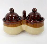 Vintage Condiment Serving Set Lids Stoneware Brown Tan Pottery Double Jelly Jam