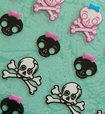 Nail Art 3D Sticker Halloween Cute Pink Blake White Skull w/ Bow Crossbones 27pc