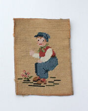 Vintage Hand Stitched Boy Flower Embroidery Decoration Ready to Frame Needlpoint