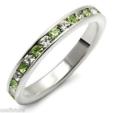 Peridot & Clear Stones .925 Sterling Silver Eternity Ladies Ring Size 7