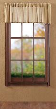 "Tobacco Cloth Khaki Window Unlined Valance Primitive Rustic Fringe Beige VHC ""72"