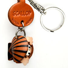 Scallop Handmade 3D Leather Sea shell Keychain *VANCA* Made in Japan #56309