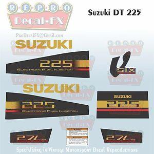 Suzuki DT225 225 HP V6 2.7 Liter EFI Outboard Repro 9 Pc Marine Vinyl Decals