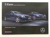 Mercedes-Benz E-Klasse Coupe & Cabrio Sport Edition - Prospekt Preisliste 9.2015