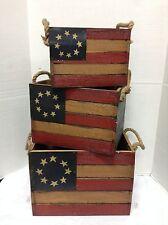 3 Americana America USA Flag Wood Rustic Vintage Decorative Storage Boxes Cubby