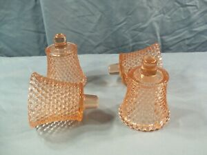 Lot of 4 Pink Glass Hobnail Peg Pegged Votive Candle Toothpick Holders