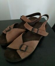 MEPHISTO sandals shoes slingback brown leather medium wedge heel 41 women 9