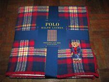 """RALPH LAUREN """"POLO BEAR"""" Plaid Cotton Throw/ Blanket (50"""" x 70"""")  127 x 178 cm"""