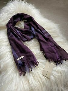 Authentic BNWT 200*45cm Burberry Check Wool & Cashmere Long Scarf Dark Plum