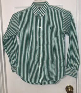 Ralph Lauren Boys Long Sleeve Green & White Striped Button Down Shirt SZ 12