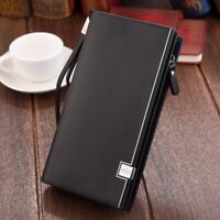 Men's Leather Wallet Clutch Purse Card Holder With Zipper Phone Bag