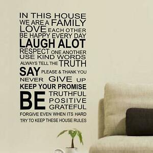 Family Rules Quote Removable Self-Adhesive Mural Art Decals Vinyl Home Deco DIY
