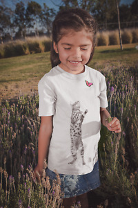 Dirty Fingers Girl's T-Shirt, The Cat and The Butterfly, Cute Nature Feline Gift