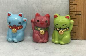 MANEKI NEKO Waving Asian Cat Good Luck Cats French Feves Figurines Miniatures