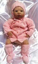 NEW HANDMADE KNIT BABY REBORN DOLL OUTFIT SET SWEATER HAT BOOTIES PINK
