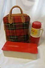 Vintage Red Plaid Picnic Set- Bag, 1qt Thermos Glass Lined, sandwich box w/lid