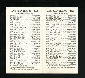 Detroit Tigers--1976 Pocket Schedule--Amusement Center