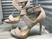 Michael Kors Women Nude Suede Cross Strap Ankle Buckle Silver Comfort Sandel 6.5