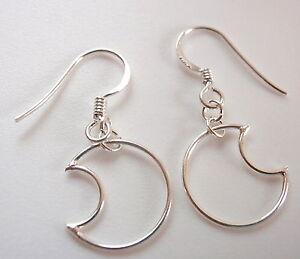 Crescent Moons Dangle Earrings 925 Sterling Silver Corona Sun Jewelry