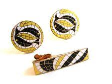 Vintage Swank Dolphin Mosaic Cufflinks & Matching Tie Clasp