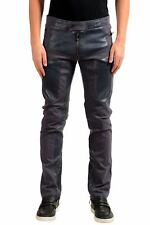 Versace Men's Gray Leather Trimmed Casual Pants US 32 IT 48