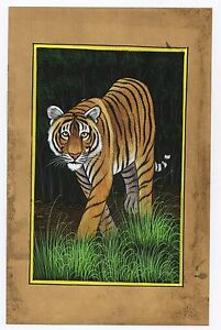Indian Tiger Watercolor Paper Painting Original Miniature Wall Decor Painting