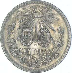 Better Date - 1945 Mexico 50 Centavos - SILVER *659