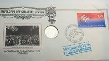 ENVELOPPE PREMIER JOUR NUMISMATIQUE BICENTENAIRE DE LA REVOLUTION PARIS 1989