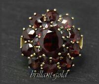 Granat Ring Gelbgold, Antik um 1930, 11,5ct böhmische rote Granate, aus 333 Gold