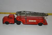 Vintage Fire Truck Red F. D. Japan Tin Litho Toy Working Ladder Rare