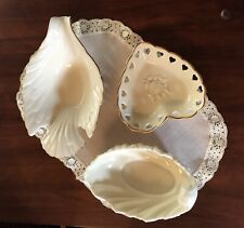 VINTAGE LENOX - DOVE - HEART -   ACANTHUS LEAF SHELL DISHS. USA