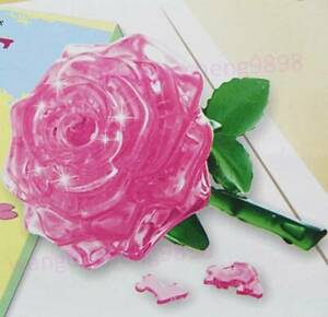 3D Crystal Puzzle IQ Toy Furnish Gift Jigsaw Model Rose DIY Souptoys Gadget