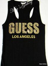 GUESS Jeans sequin Glitter Tank T-shirt Tee T shirt  Top Blouse  Black  NWT  XS