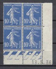 FRANCE FRANCIA 1932-1937 Type Semeuse fond plein 10c Coins Datés MNH**/MH*