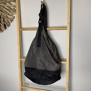 Black & Grey Bucket Shoulder Crossbody Bag One Strap Backpack Gym Outdoors